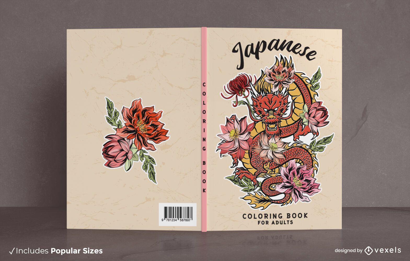 Diseño de portada de libro para colorear de dragón japonés