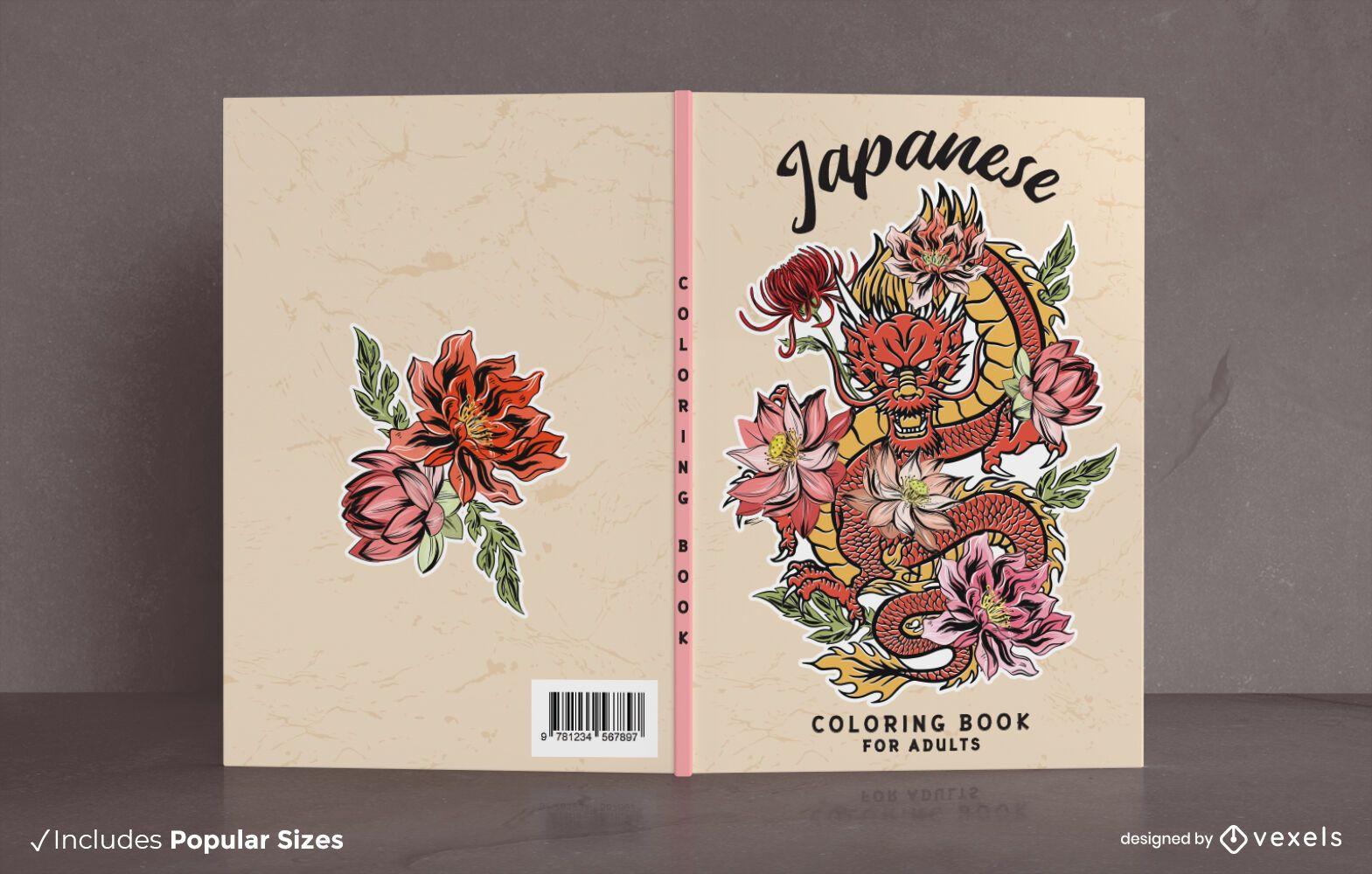 Japanese dragon coloring book cover design