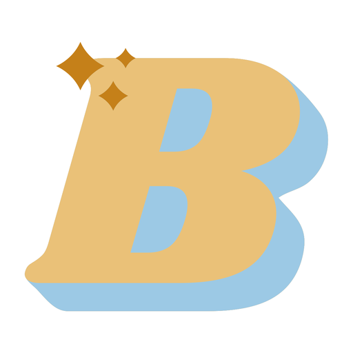B letter sparkly retro alphabet font