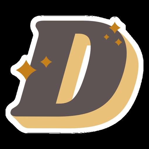 D letter sparkly retro alphabet font