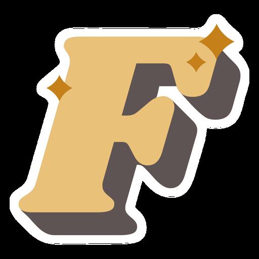 F letter sparkly retro alphabet font