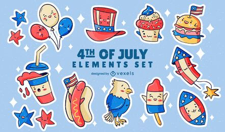 Independence day sticker set