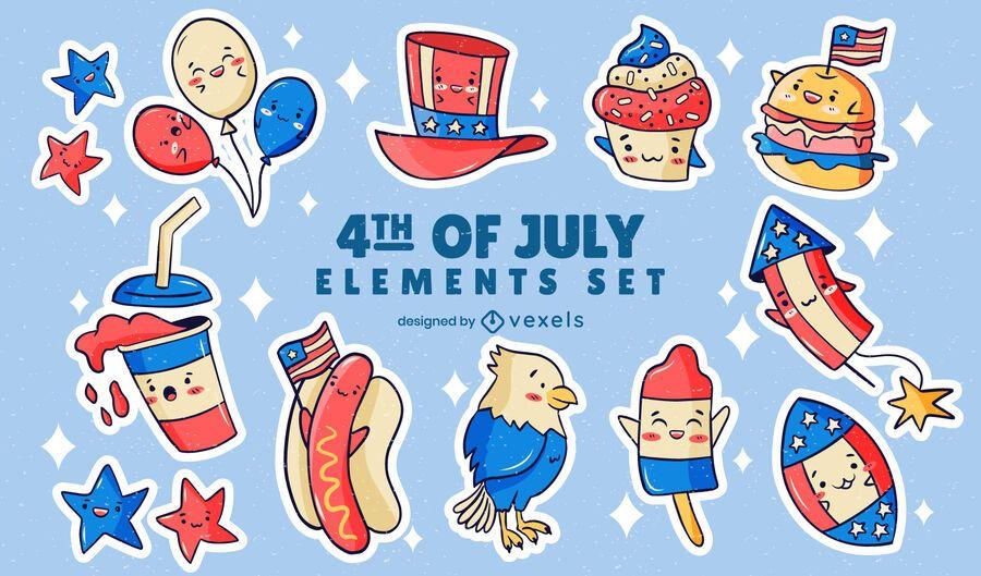 Independence day sticker set