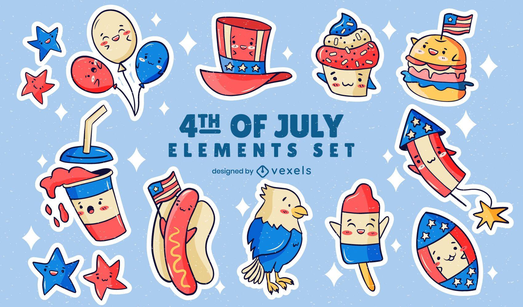 Conjunto de pegatinas del día de la independencia