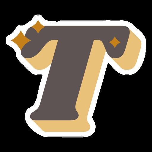T letter sparkly retro alphabet font