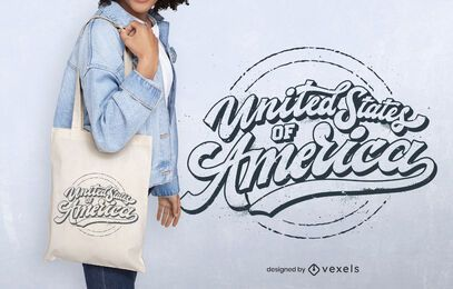 Diseño de bolsa de asas de estados unidos américa