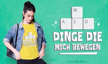 Design de camiseta com teclado para jogadores alemães