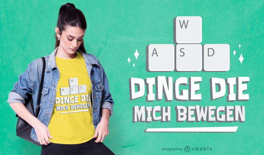 Diseño de camiseta de teclado de jugador alemán