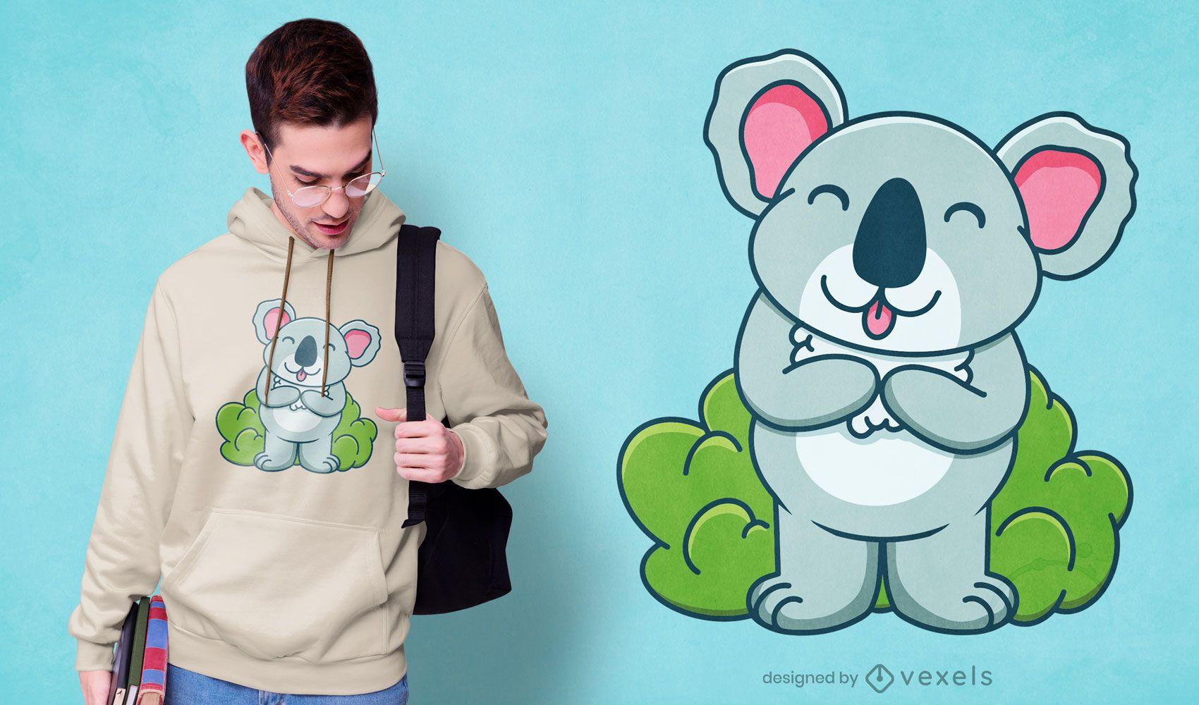 Diseño de camiseta de dibujos animados lindo koala