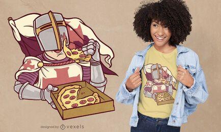Desenho de camiseta de cavaleiro comendo pizza
