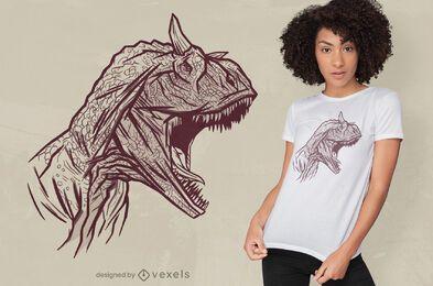 Diseño de camiseta con cara de dinosaurio carnotaurus.