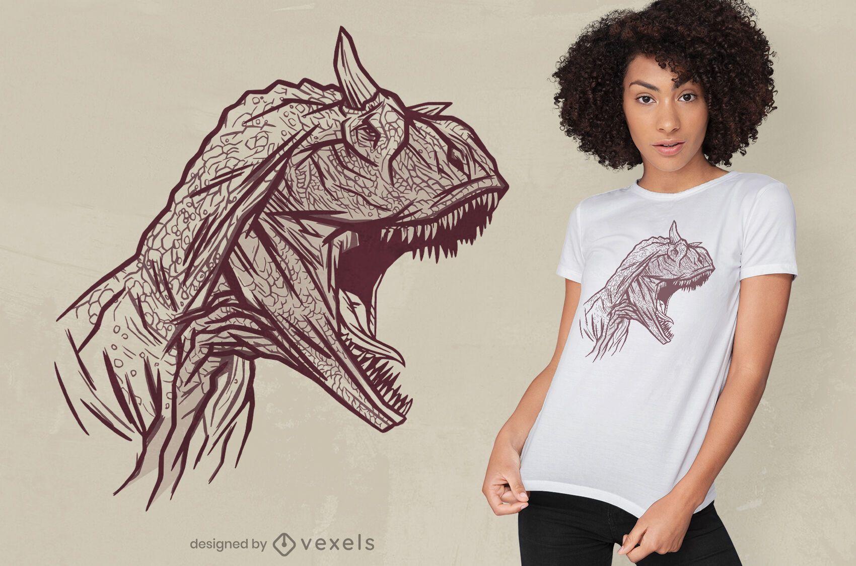 Carnotaurus dinosaur face t-shirt design