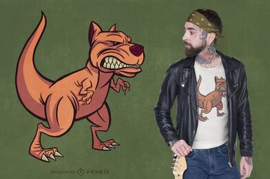 Design de camiseta híbrida para cães Pitbull t-rex