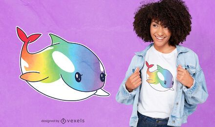 Diseño de camiseta de ballena asesina arcoíris.