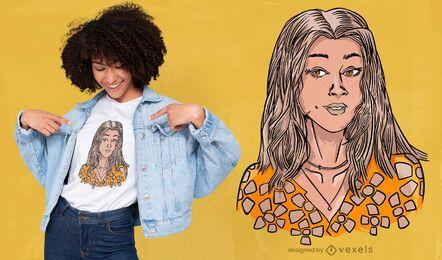 Desenho de t-shirt com retrato de mulher