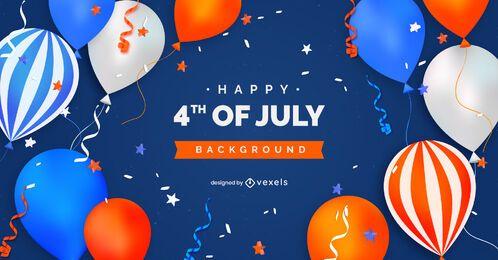 Fondo de globos del cuatro de julio