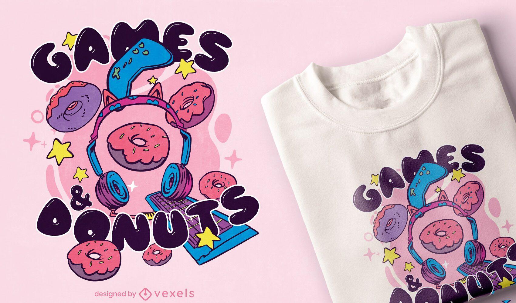 Diseño de camiseta de juegos y donas.