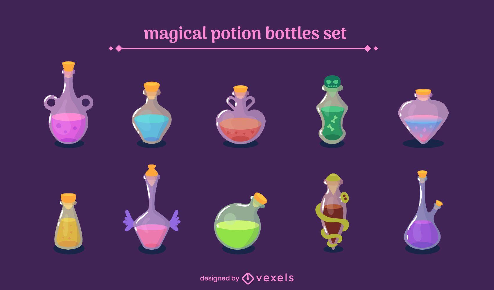 Magical potion bottles set
