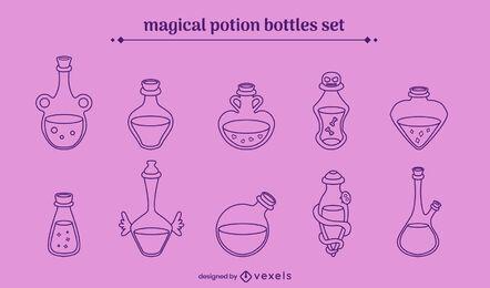 Conjunto de trazos de pociones mágicas
