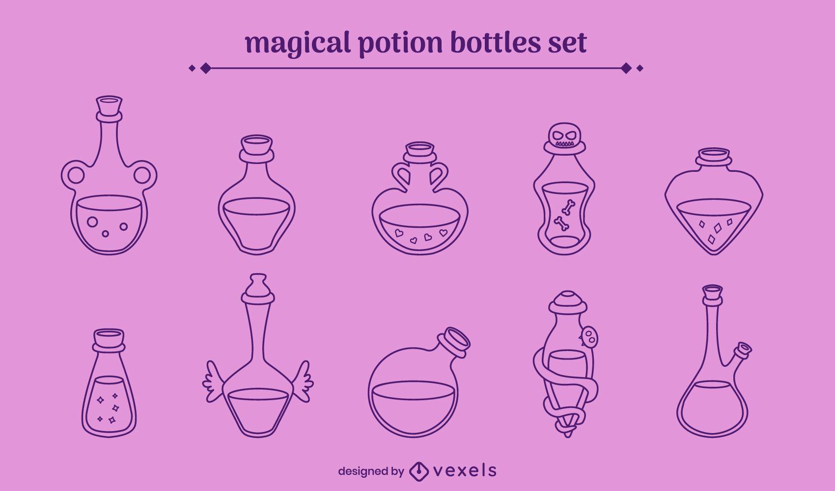 Magical potions stroke set
