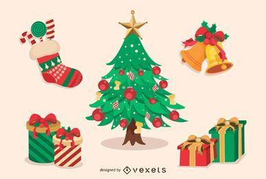 Feliz Navidad elementos de diseño conjunto de vectores