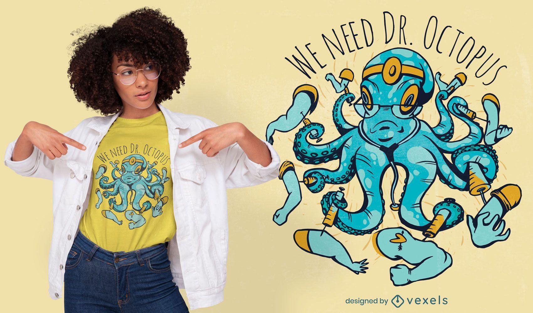 Diseño de camiseta doctor pulpo.