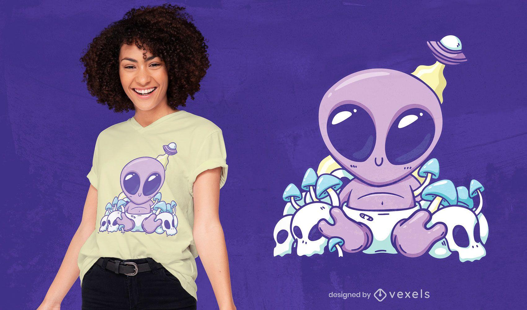 Dise?o de camiseta baby alien