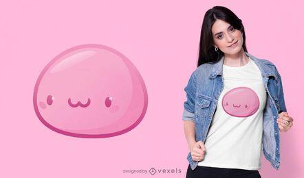 Design de t-shirt mochi japonesa Kawaii rosa