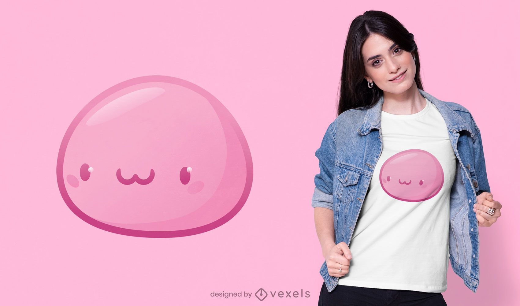 Diseño de camiseta mochi japonés rosa kawaii