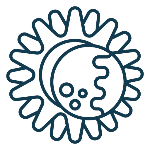 Sun eclipse geometric stroke simple