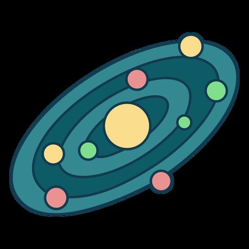 Simple solar system geometric color stroke