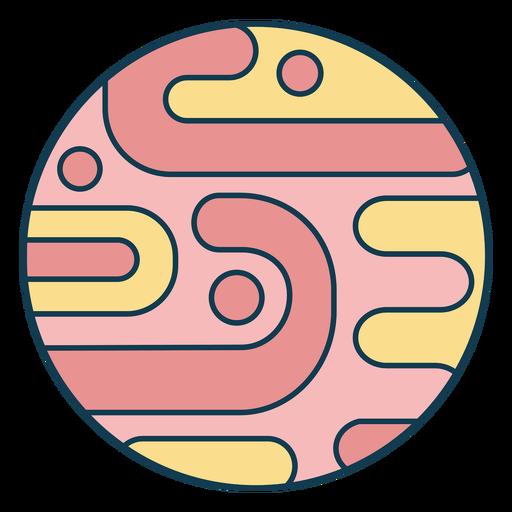Simple colorful planet color stroke