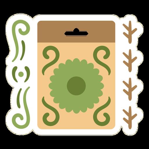 Green flower organic sticker flat