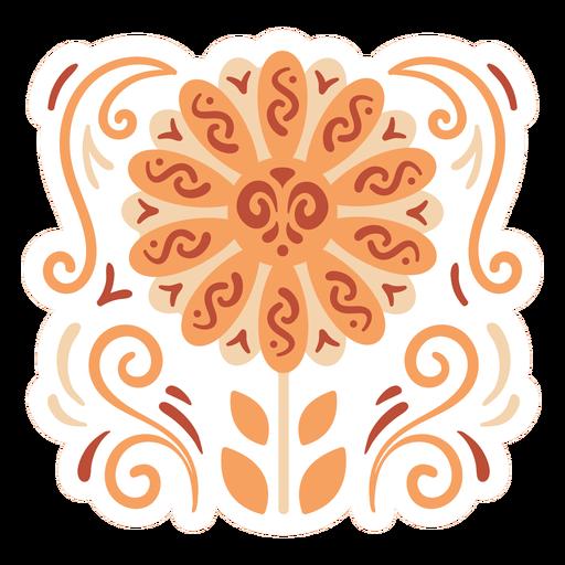 Orange flower sticker design flat