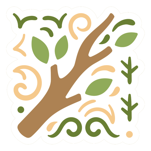 Tree branch sticker design flat