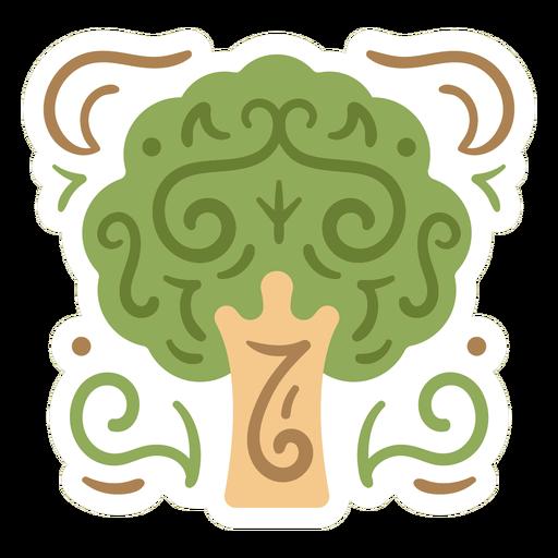 Leafy tree sticker design flat