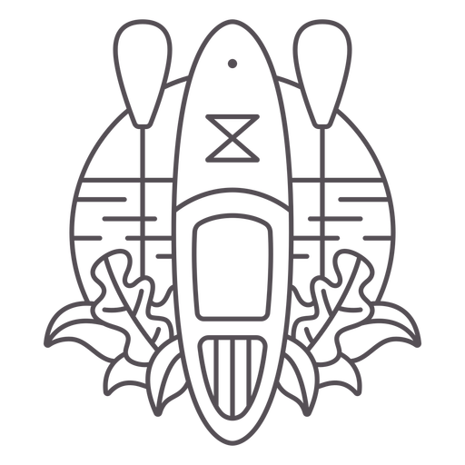 Paddleboard beach and plants stroke badge