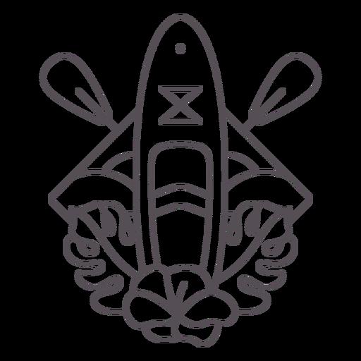 Paddleboard beach and leaves stroke badge