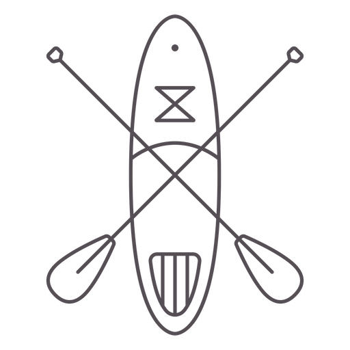 Paddleboard with two crossed paddles stroke