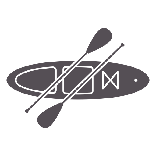 Paddleboard from top with two paddles cut out
