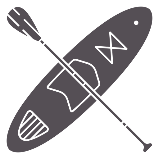 Paddleboard and paddle crossed cut out