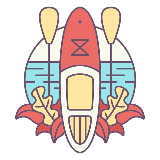 Paddleboard beach and plants color stroke badge