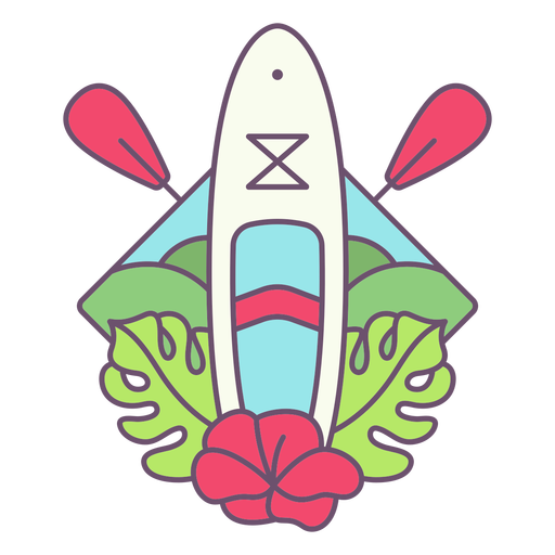 Paddleboard and plants color stroke badge