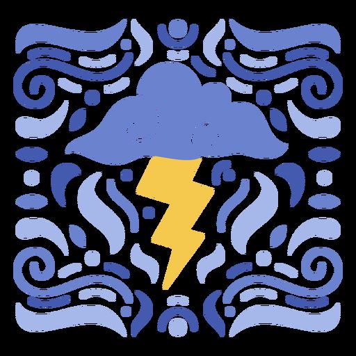 Cloud and thunder ornamental design flat