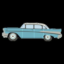 Vintage blue car semi flat