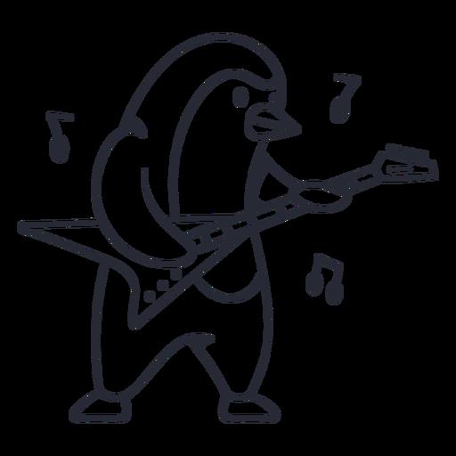 Cute penguin guitar player cartoon stroke