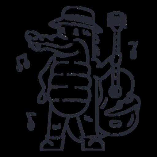 Cute alligator guitar player cartoon stroke