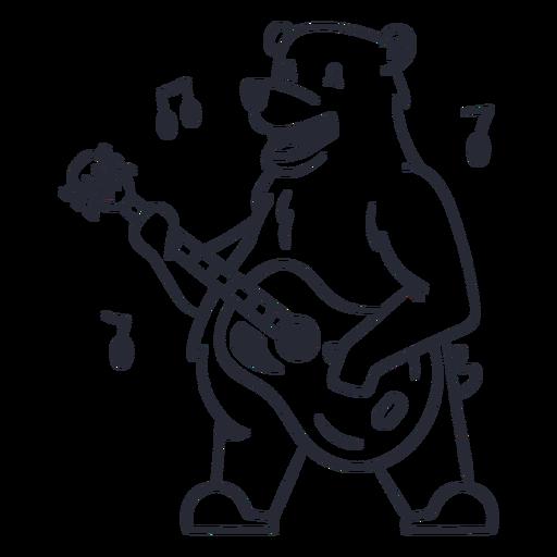 Cute bear guitar player cartoon stroke