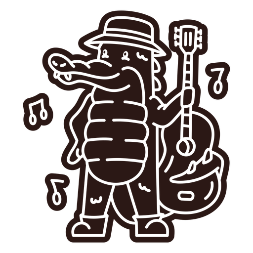 Cute alligator guitar player cartoon cut out