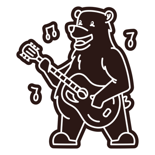 Cute bear guitar player cartoon cut out